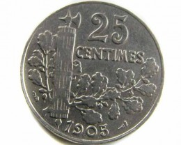 1905 FRANCE 25 CENTIMES   COIN CO 428