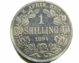 1894 ONE SHILLING SOUTH AFRICA COIN F  CO 430