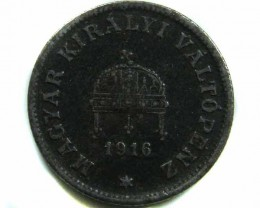 1916 20 FILLER HUNGRAY COIN CO 433
