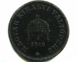 1916 20 FILLER HUNGRAY COIN CO 433