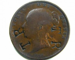1858 VICTORIA PENNY COIN STAMPED T.R   CO 446
