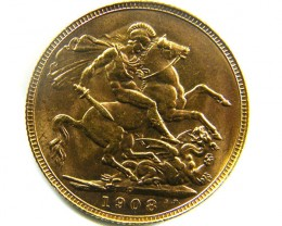 1908  UNCIRCULATED EDWARD   SOVERIGN  B.P   CO 464