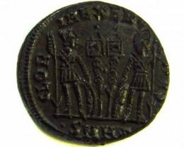 ANCIENT ROMAN  BRONZE FOLLE GLORIA EXERCITVS  COIN  AC557