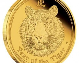 2010 Year Of The Tiger  Gold Proof One Ounce Coin