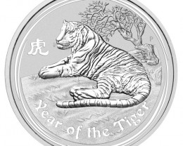 2010 YEAR OF THE TIGER ONE OUNCE SILVER COIN