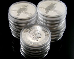 Investors parcel 20 Silver 2010 Kookaburra Silver Coins