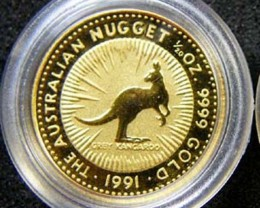 THE AUSTRALIAN NUGGET 1991 1/20 OUNCE 0.9999 PURE GOLD