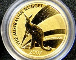 THE AUSTRALIAN NUGGET 2007 1/20 OUNCE 0.9999 PURE GOLD