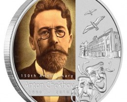 150th Anniversary of Anton Chekhov 1oz Silver Bullion Coin