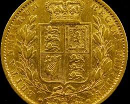 1864 SHIELD GOLD  VICTORIA SOVERIGN CO 605