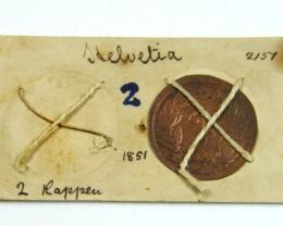 MUSEUM ARCHIVAL HELVETIA 2 RAPPEN DATED 1851   CO 614
