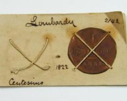 MUSEUM ARCHIVAL LOWBARDY CENTESIMO DATED 1822   CO  616