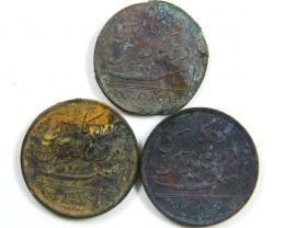 PARCEL 3 x 1808 ADMIRAL GARDINER SHIPWRECK COIN  CO 631