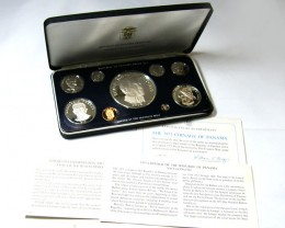 COLLECTORS 1975  PROOF PANAMA NINE  COIN SET CO 639
