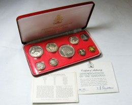 COLLECTORS 1975  PROOF BAHAMAS NINE  COIN SET CO 640