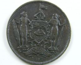 BRITISH NORTH BORNEO  1887  ONE CENT COIN CO 651