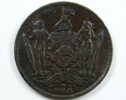 BRITISH NORTH BORNEO  1889  ONE CENT COIN CO 652