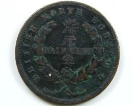 RARE BRITISH NORTH BORNEO  1907 1/2  CENT COIN CO 653