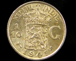 1/10 G NETH INDIES 1941 SILVER COIN CO 674