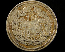 1928 NETHERLANDFS 10 CENTS SILVER COIN CO 675