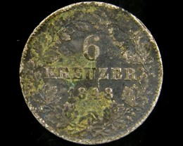 1848 BADEN 6 KRUEZER COIN CO 682