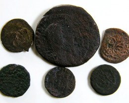 PARCEL 6 MIXED ANCIENT ROMAN COINS  AC 608