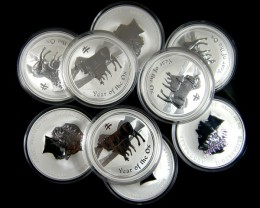 PARCEL 9 YEAR OF OX ONE OUNCE SILVER COINS CO 694