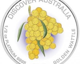 Discover Australia 2007 Golden Wattle 1/2oz  Platinum Coin
