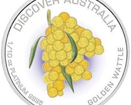 Discover Australia 2007 Golden Wattle  1/10oz Platinum Coin