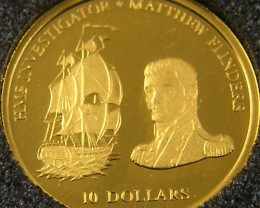 PROOF FIJI GOLD COIN 410 2002 MATHEW FLINDERS CO 703