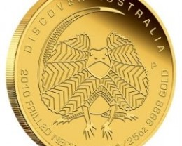 Discover Australia 2010 Frilled Neck Lizard 1/25 oz Gold