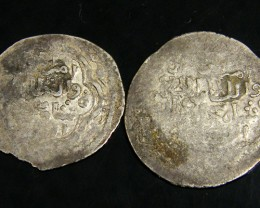 TWO SILVER DINAS MUZAFFARID SHAH SHUJA SHAHRUKH 759 AD APC29