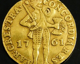 GOLD DUCAT COIN NETHERLANDS UTRECHT OF 1761   CO718