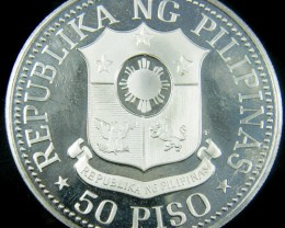 PROOF 1975 SILVER 50 PESOS PHILIPINO COIN CO 728