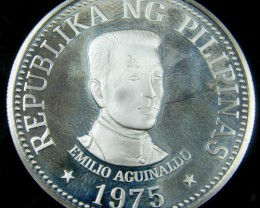 PHILIPPINES 1975 PROOFSILVER  25 PESOS COIN   CO 729