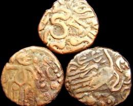 11TH CENT ANCIENT CEYLON  RAJA RAJA CHOLA AE MASSA COIN J775