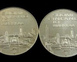 SILVER FINLAND .389  10 MARKKAA HELINSKI 1971 CO 754