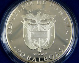 CERT 1974 LARGE SILVER 20 BALBOAS COIN  2000 GRAINS  CO 758