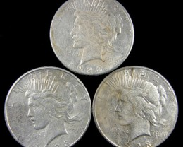PARCEL 3 1923  PEACE DOLLAR SILVER COIN S  CO 785