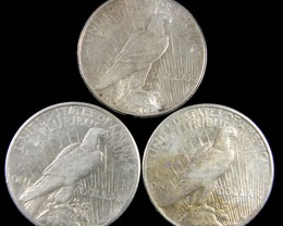 PARCEL 3 1923  PEACE DOLLAR SILVER COIN S  CO 786