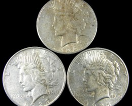 PARCEL 3 1923  PEACE DOLLAR SILVER COIN S  CO 787