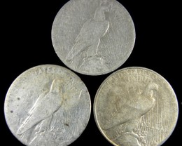 PARCEL 3 1923  PEACE DOLLAR SILVER COIN S  CO 789
