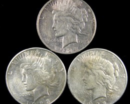 PARCEL 3 1923  PEACE DOLLAR SILVER COIN S  CO 790