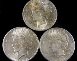 PARCEL 3 1922 PEACE DOLLAR SILVER COIN S  CO 792