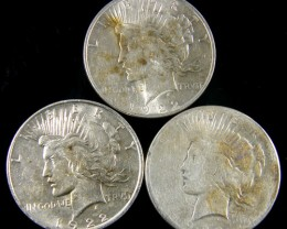 PARCEL 3 1922 PEACE DOLLAR SILVER COIN S  CO 795