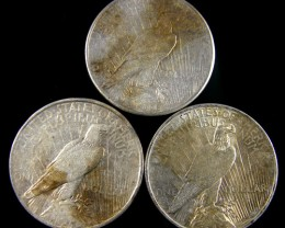 PARCEL 3 1922 PEACE DOLLAR SILVER COIN S  CO800