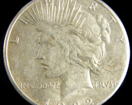1922  PEACE DOLLAR SILVER COIN   CO 805
