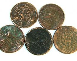 TIBET AE SHO 1920s  PARCEL 5 COINS          OP 775