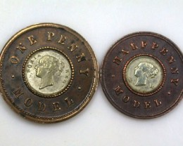 ENGLISH ONE PENNY AND HALF PENNY  SET  1800 s  OP 59