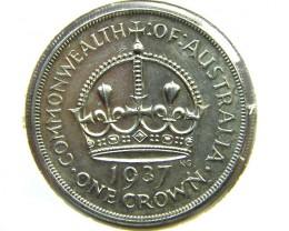 1937 NICE AUSTRALIAN CROWN 92.5% SILVER  OP851